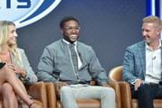 (L-R) Charlotte Flair, Reggie Bush and Joel Klatt of Fox Sports speak during the Fox segment of the 2019 Summer TCA Press Tour at The Beverly Hilton Hotel on August 7, 2019 in Beverly Hills, California.