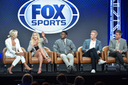 (L-R) Charissa Thompson, Charlotte Flair, Reggie Bush, Joel Klatt and Kevin Burkhardt of Fox Sports speak during the Fox segment of the 2019 Summer TCA Press Tour at The Beverly Hilton Hotel on August 7, 2019 in Beverly Hills, California.