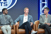 Reggie Bush, Joel Klatt and Kevin Burkhardt of Fox Sports speak during the Fox segment of the 2019 Summer TCA Press Tour at The Beverly Hilton Hotel on August 7, 2019 in Beverly Hills, California. (Photo by Amy Sussman/Getty Images) *** Reggie Bush; Joel Klatt; Kevin Burkhardt