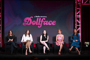 (L-R) Stephanie Laing, Jordan Weiss, Kat Dennings, Brenda Song and Shay Mitchell of 'Dollface' speak onstage during the Hulu segment of the Summer 2019 Television Critics Association Press Tour at The Beverly Hilton Hotel on July 26, 2019 in Beverly Hills, California.