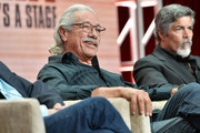 Edward James Olmos and Esai Morales of Raul Julia: The World's a Stage speak during the PBS segment of the Summer 2019 Television Critics Association Press Tour 2019 at The Beverly Hilton Hotel on July 30, 2019 in Beverly Hills, California.