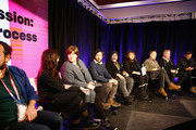 (L-R) Mandy Hoffman, Heather McIntosh, David Wingo, Scott Z. Burns, Doreen Ringer-Ross, Peter Golub, Blake Neely and Ryan White speak at the BMI's 21st Roundtable Discussion: Music And Film - The Creative Process during the 2019 Sundance Film Festival at Kimball Art Center on January 27, 2019 in Park City, Utah.