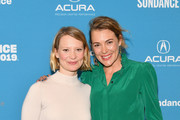 """Mia Wasikowska (L) and Mirrah Foulkes attend the Judy & Punch"""" Premiere during the 2019 Sundance Film Festival at The Ray on January 27, 2019 in Park City, Utah."""