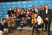 """Mike Evans Jr., Jordan Gomes, Isiain X, Antoine Redus, Jamal Trulove, Willie Hen, Jeremy Kleiner, Christina Oh, Khaliah Neal, Joe Talbot, Jimmie Fails, Rob Morgan, Tichina Arnold, Jonathan Majors, Jeivon Parker, and cast and crew attend the """"The Last Black Man In San Francisco"""" Premiere during the 2019 Sundance Film Festival at Eccles Center Theatre on January 26, 2019 in Park City, Utah."""