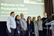 Producers Alan Oxman, Carly Hugol Ted Hope, Nina Jacobson, Michelle Satter, Julie Rapaport, and Matthew Newman onstage during the Producers Brunch during the 2019 Sundance Film Festival at The Shop on January 27, 2019 in Park City, Utah.