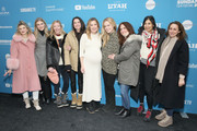 """Megan Ferguson, Anna Margaret Hollyman, Lily Rabe, and cast and crew attend the """"Sister Aimee"""" Premiere during the 2019 Sundance Film Festival at Library Center Theater on January 26, 2019 in Park City, Utah."""