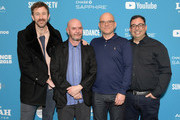 """(L-R) Chris O'Dowd, Nick Hornby, Jamie Laurenson and Hakan Kousetta attend the """"State Of The Union"""" Premiere during the 2019 Sundance Film Festival  at The Marc Theatre on January 28, 2019 in Park City, Utah."""