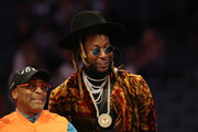 Spike Lee (L), film director, watches play alongside rapper 2 Chainz (R) during the Taco Bell Skills Challenge as part of the 2019 NBA All-Star Weekend at Spectrum Center on February 16, 2019 in Charlotte, North Carolina.