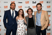 "(L-R) Charlie Hunnam, Jessica Barden, Max Winkler, and Fran Kranz attend the ""Jungleland"" photo call during the 2019 Toronto International Film Festival at Princess of Wales Theatre on September 12, 2019 in Toronto, Canada."
