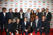 "Kevin Garnett, The Weeknd, Judd Hirsch, Julia Fox, Idina Menzel, Eric Bogosian, Josh Safdie, Ronald Bronstein, Eli Bush, Daniel Lopatin, Benny Safdie, LaKeith Stanfield, Adam Sandler and Sebastian Bear-McClard attend the ""Uncut Gems""premiere during the 2019 Toronto International Film Festival at Princess of Wales Theatre on September 09, 2019 in Toronto, Canada."