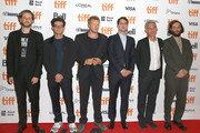 "(L-R) Daniel Lopatin, Eli Bush, Sebastian Bear-McClard, Benny Safdie, Ronald Bronstein and Josh Safdie attend the ""Uncut Gems""premiere during the 2019 Toronto International Film Festival at Princess of Wales Theatre on September 09, 2019 in Toronto, Canada."