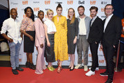 "(L-R) Thomas Olajide, Lanette Ware, Zahra Bentham, Kacey Rohl, Amber Anderson, Christine Horne, Connor Jessup, Calvin Thomas and Yonah Lewis attend the ""White Lie"" photo call during the 2019 Toronto International Film Festival at TIFF Bell Lightbox on September 07, 2019 in Toronto, Canada."