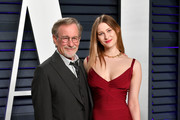 Steven Spielberg (L) and Sasha Speilberg attend the 2019 Vanity Fair Oscar Party hosted by Radhika Jones at Wallis Annenberg Center for the Performing Arts on February 24, 2019 in Beverly Hills, California.