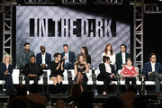 (Back L-R) .Casey Deidrick, Keston John, Nicky Weinstock, Jackie Cohn, Kathleen York, Morgan Krantz (Front L-R) Lorri Bernson, Thamela Mpumlwana, Corinne Kingsbury, Perry Mattfeld, Brooke Markham, Calle Walton and Rich Sommer of the television show 'In the Dark' speaks during the CW segment of the 2019 Winter Television Critics Association Press Tour at The Langham Huntington, Pasadena on January 31, 2019 in Pasadena, California.