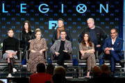 "(L-R) Lauren Tsai, Rachel Keller, Dan Stevens,  Aubrey Plaza, Navid Negahban (back row left to right) Lauren Shuler-Donner, Noah Hawley, and Jeph Loeb of the television show ""Legion"" speak during the FX segment of the 2019 Winter Television Critics Association Press Tour at The Langham Huntington, Pasadena on February 04, 2019 in Pasadena, California."