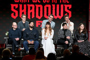 "(L-R) Mark  Proksch, Kayvan Novak, Natasia Demetriou, Harvey Guillen, Beanie,   Feldstein, (back row left to right) Paul Simms, Jermaine Clement, and Taika Waititi of the television show ""What We Do in the Shadows"" speak during the FX segment of the 2019 Winter Television Critics Association Press Tour at The Langham Huntington, Pasadena on February 04, 2019 in Pasadena, California."