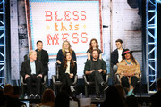 (Back L-R) Melvin Mar,  Elizabeth Meriwether, Lennon Parham, JT Neal (Front L-R) Ed Begley Jr., Lake Bell, Dax Shepard and Pam Grier of the television show 'Bless This Mess' speaks during the ABC segment of the 2019 Winter Television Critics Association Press Tour at The Langham Huntington, Pasadena on February 05, 2019 in Pasadena, California.