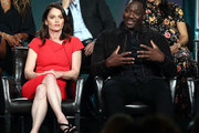 Robin Tunney and Adewale Akinnuoye-Agbaje of the television show 'The Fix' speak during the ABC segment of the 2019 Winter Television Critics Association Press Tour at The Langham Huntington, Pasadena on February 05, 2019 in Pasadena, California.