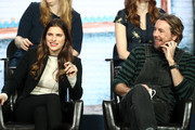 Lake Bell and Dax Shepard of the television show 'Bless This Mess' speaks during the ABC segment of the 2019 Winter Television Critics Association Press Tour at The Langham Huntington, Pasadena on February 05, 2019 in Pasadena, California.