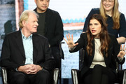 Ed Begley Jr. and Lake Bell of the television show 'Bless This Mess' speak during the ABC segment of the 2019 Winter Television Critics Association Press Tour at The Langham Huntington, Pasadena on February 05, 2019 in Pasadena, California.