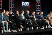 "(L-R) Cory Michael Smith, Robin Lloyd Taylor, Erin Richards, Donal Logue, Ben McKenzie, John Stephens, Danny Cannon, David Mazouz, Camren Bicondova, and Cameron Monoghan of the television show ""Gotham"" speak during the FOX segment of the 2019 Winter Television Critics Association Press Tour at The Langham Huntington, Pasadena on February 06, 2019 in Pasadena, California."