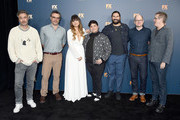 Taika Waititi, Jemaine Clement, Natasia Demetriou, Harvey Guillen, Kayvan Novak, Mark Proksch, and Paul Simms attend the 2019 Winter TCA Tour - FX Starwalk at The Langham Huntington, Pasadena on February 4, 2019 in Pasadena, California.