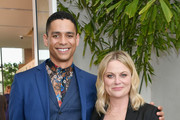 (L-R) Charlie Barnett and Amy Poehler, wearing Max Mara, attend the 2019 Women In Film Annual Gala Presented by Max Mara with additional support from partners Delta Air Lines and Lexus at The Beverly Hilton on June 12, 2019 in Beverly Hills, California.