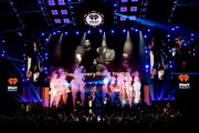 (EDITORIAL USE ONLY) The Backstreet Boys perform with Steve Aoki onstage during the 2019 iHeartRadio Music Festival at T-Mobile Arena on September 20, 2019 in Las Vegas, Nevada.