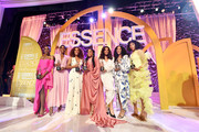 (L-R) Honorees Angelica Ross, Lashana Lynch, Janet Mock, Niecy Nash, Hailie Sahar, Mj Rodriguez, and Melina Matsoukas pose onstage during the 2020 13th Annual ESSENCE Black Women in Hollywood Luncheon at Beverly Wilshire, A Four Seasons Hotel on February 06, 2020 in Beverly Hills, California.