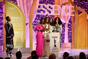 (L-R) Billy Porter, Angelica Ross, Janet Mock, Hailie Sahar and Mj Rodriguez speak onstage during the 2020 13th Annual ESSENCE Black Women in Hollywood Luncheon at Beverly Wilshire, A Four Seasons Hotel on February 06, 2020 in Beverly Hills, California.
