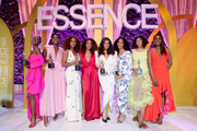 (L-R) Honoree Angelica Ross, honoree Lashana Lynch, honoree Janet Mock, Eve, honoree Hailie Sahar, honoree Mj Rodriguez, honoree Melina Matsoukas, and Issa Rae pose onstage during the 2020 13th Annual ESSENCE Black Women in Hollywood Luncheon at Beverly Wilshire, A Four Seasons Hotel on February 06, 2020 in Beverly Hills, California.