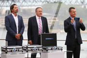(L-R) Pat Rafter, John Newcombe and Lleyton Hewitt during the 2020 ATP Cup Draw at The Sydney Opera House on September 16, 2019 in Sydney, Australia.