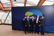 (L-R) Lleyton Hewitt, Ken Rosewall, John Newcombe and Pat Rafter during the 2020 ATP Cup Draw at The Sydney Opera House on September 16, 2019 in Sydney, Australia.