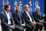 (L-R) Pat Rafter, Lleyton Hewitt, John Newcombe and Ken Rosewall during the 2020 ATP Cup Draw at The Sydney Opera House on September 16, 2019 in Sydney, Australia.