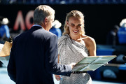 Caroline Wozniacki during the women's day ceremony on Rod Laver Arena on day eleven of the 2020 Australian Open at Melbourne Park on January 30, 2020 in Melbourne, Australia.