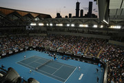 General view inside Margaret Court Arena during the Men's Singles second round match between Stan Wawrinka of Switzerland and Andreas Seppi of Italy on day four of the 2020 Australian Open at Melbourne Park on January 23, 2020 in Melbourne, Australia.