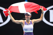 Caroline Wozniacki of Denmark acknowledges the crowd following her Women's Singles third round match against Ons Jabeur of Tunisia on day five of the 2020 Australian Open at Melbourne Park on January 24, 2020 in Melbourne, Australia.