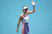 Caroline Wozniacki of Denmark acknowledges the crowd after losing her Women's Singles third round match against Ons Jabeur of Tunisia on day five of the 2020 Australian Open at Melbourne Park on January 24, 2020 in Melbourne, Australia.