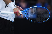 Detail of Fabio Fognini of Italy hand a racquet during his Men's Singles fourth round match against Tennys Sandgren of the United States on day seven of the 2020 Australian Open at Melbourne Park on January 26, 2020 in Melbourne, Australia.