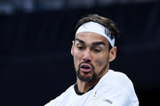 Fabio Fognini of Italy plays a backhand during his Men's Singles fourth round match against Tennys Sandgren of the United States on day seven of the 2020 Australian Open at Melbourne Park on January 26, 2020 in Melbourne, Australia.