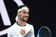 Fabio Fognini of Italy celebrates after winning a point during his Men's Singles fourth round match against Tennys Sandgren of the United States on day seven of the 2020 Australian Open at Melbourne Park on January 26, 2020 in Melbourne, Australia.