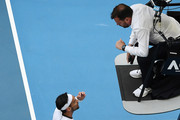Fabio Fognini of Italy argues with the chair umpire, Damien Dumusois during his Men's Singles fourth round match against Tennys Sandgren of the United States on day seven of the 2020 Australian Open at Melbourne Park on January 26, 2020 in Melbourne, Australia.