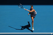 Petra Kvitova of Czech Republic plays a forehand during her Women's Singles Quarterfinal match against Ashleigh Barty of Australia on day nine of the 2020 Australian Open at Melbourne Park on January 28, 2020 in Melbourne, Australia.