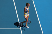 Petra Kvitova of Czech Republic reacts during her Women's Singles Quarterfinal match against Ashleigh Barty of Australia on day nine of the 2020 Australian Open at Melbourne Park on January 28, 2020 in Melbourne, Australia.