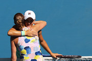 Ashleigh Barty of Australia and Petra Kvitova of Czech Republic embrace at the net following their Women's Singles Quarterfinal match on day nine of the 2020 Australian Open at Melbourne Park on January 28, 2020 in Melbourne, Australia.