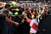 Caroline Wozniacki of Denmark signs autographs after losing her Women's Singles third round match against Ons Jabeur of Tunisia on day five of the 2020 Australian Open at Melbourne Park on January 24, 2020 in Melbourne, Australia.