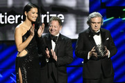 Adriana Lima, Bobby Kotick and Alex Eskin speak onstage during the 2020 Breakthrough Prize at NASA Ames Research Center on November 03, 2019 in Mountain View, California.