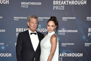 (L-R) David Foster and Katharine McPhee attend the 2020 Breakthrough Prize Red Carpet at NASA Ames Research Center on November 03, 2019 in Mountain View, California.