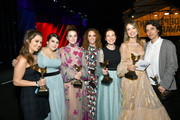 "(L-R) Billie Lourd, Beanie Feldstein, Kaitlyn Dever, Jessica Elbaum, Katie Silberman, Olivia Wilde, and Chelsea Barnard, winners of Best First Feature for ""Booksmart,"" attend the 2020 Film Independent Spirit Awards on February 08, 2020 in Santa Monica, California. (Photo by Amy Sussman/Getty Images for Film Independent"