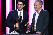 (L-R) Benny Safdie and Ronald Bronstein accept the Best Editing award for 'Uncut Gems' onstage during the 2020 Film Independent Spirit Awards on February 08, 2020 in Santa Monica, California.